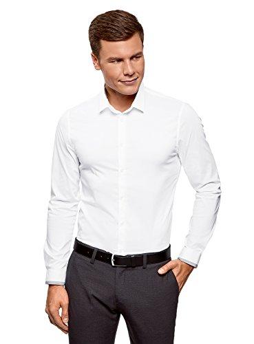 Oodji ultra uomo camicia attillata con finitura in contrasto, bianco, 42cm / it 50 / eu 42 / l