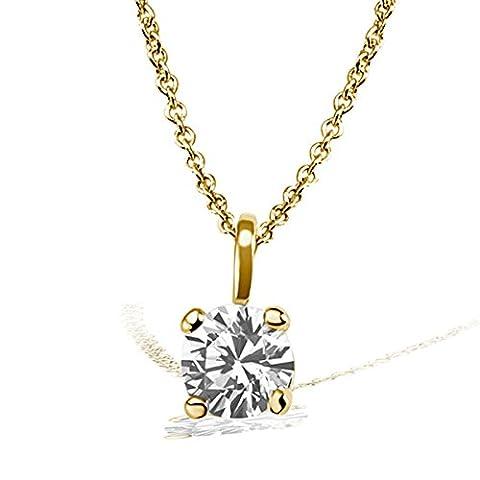 Goldmaid–Pa Chaîne avec pendentif Solitaire Jana Collier Jana Solitaire 0,10ct. Or jaune 585Diamant 0.10ct blanc taille brillant 45cm–So c6732gg