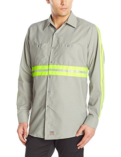 Red Kap Men's Enhanced Visibility IndustrialWork Shirt , Grey with Yellow/Green Visibility Trim, X-Large -