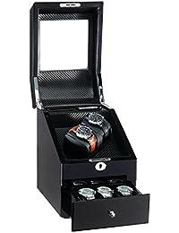 AUBLAN Remontoir Automatique en Bois 2 + 3 Boîtes De Rangement pour 5 Montres avec écran LCD