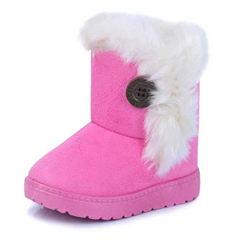 Baby Winterstiefel Jungen Mädchen Schneestiefel Warm gefütterte Schlupfstiefel Kinder Kurzschaft Winter Stiefel Boots Schuhe Pink 21.5 EU = 22 CN