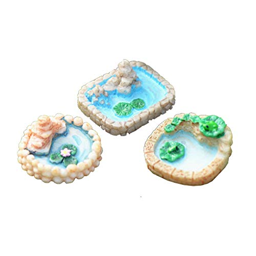 F-blue 3pcs Harz Miniaturen Mini-Pool Pond Modell Fairy Garden Pool Succulents Ornament Teich Dekoration Succulents Ornament zufällige Farbe