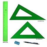PACK LOTE Faibo Técnico - Regla verde 30 Cm + Escuadra Verde 30 Cm + Cartabón 30 Cm
