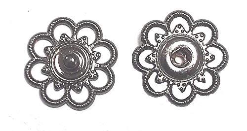 Großhandel für Schneiderbedarf 5 Druckknöpfe zum Annähen Metall Silber brüniert 25mm nickelfrei