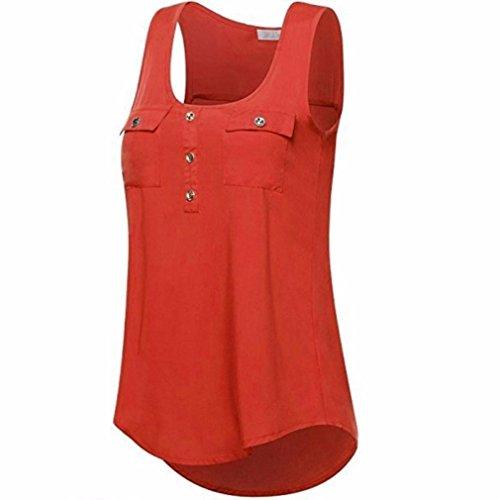 ZIYOU Blusen Ärmellos Damen, Frauen Casual Vest/Mode Tank Tops T-Shirts mit Tasche Einfarbig, S~5XL Größe (Orange, XL) (Sweatshirt T-shirt Ärmelloses)