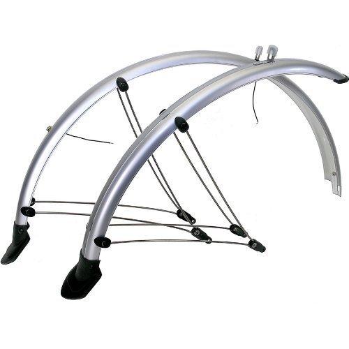 28 Zoll Fahrrad Schutzblech Set Silber mit Kontaktstreifen NEU