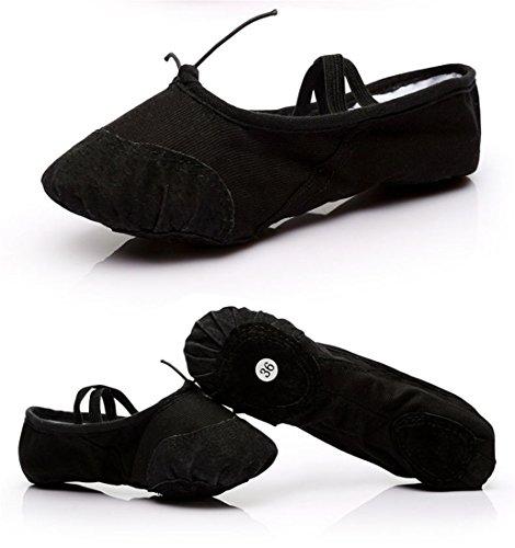 Wxmddn Scarpe da ballo Canvas black scarpe da ballo soft suole cat claw scarpe figli adulti scarpe da ballo Nero