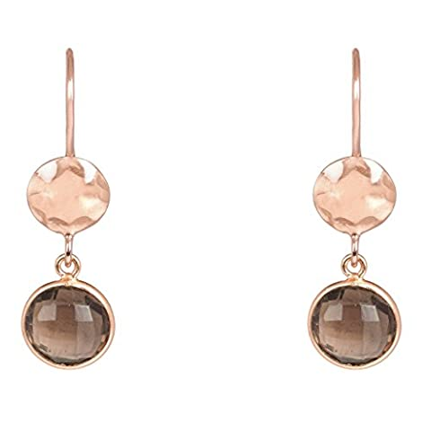 Circle & Hammer Earring Rosegold Smokey Quartz