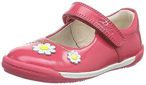 Clarks Softly Jam Fst, Baskets premiers pas mixte bébé - Rose - Pink (Coral Patent), 22.5