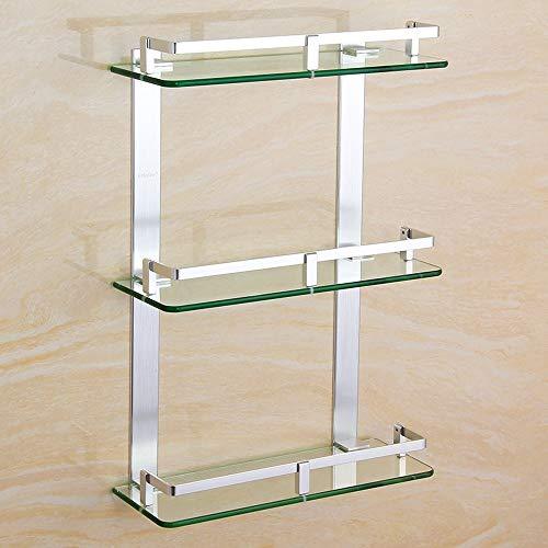 Le Dusche Hardware (Agaidu Aluminium Badezimmer Kosmetik Lagerregal DREI-Schicht-Glas Badezimmer Rack Badezimmer Hardware-Zubehör Dusche Multi-Layer-Plattform-Rahmen Rechteckige Glasrahmen Raum Aluminium ( Size : 40CM ))