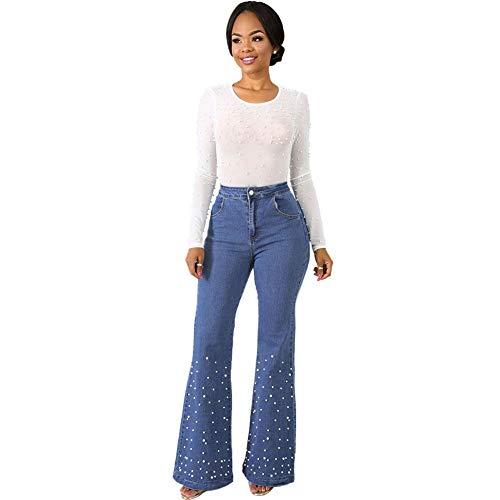 Fandecie Frauen Flare Jeans mit hoher Taille und Perlenbesatz Bell Bottom Denim Hose Cowboy Long Pants - Bell-bottom-jeans Taille Hohe