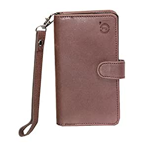 J Cover A9 Nillofer Leather Carry Case Cover Pouch Wallet Case For XOLO A510s Dark Brown
