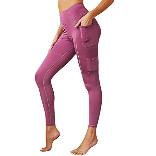 Setsail Damen Neue Hosen Plain Color Legere Stitching Pocket Hip Tightness Übung Laufen Yoga Pants Bequeme Hose -