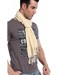 Prettystern - 200cm foulard marbré Uni moucheté couleur à franges 100% lin écharpe hommes - couleur