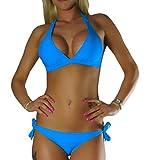 ALZORA Neckholder Damen Bikini Push Up Set Top und Hose Auswahl Farben, 10345 (S, Blau)