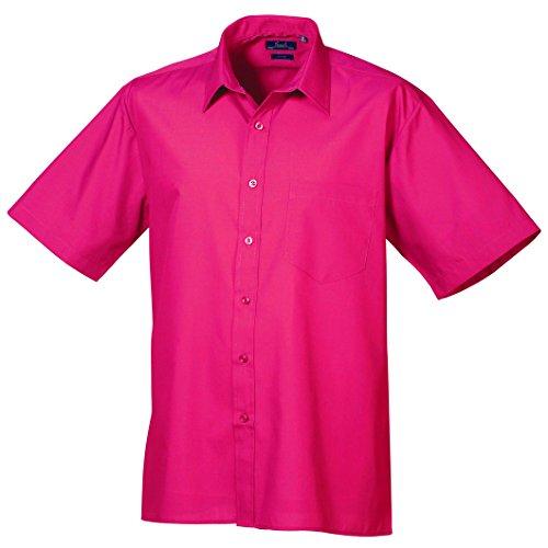 Premier Workwear Herren Businesshemd Poplin Short Sleeve Shirt Dunkles Pink