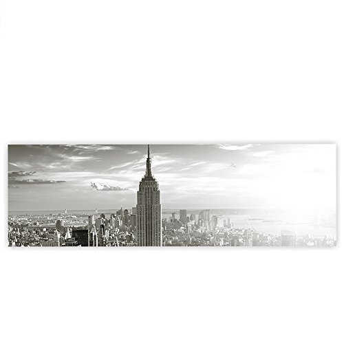 LIENZO 1 PIEZAS  DISEñO DE HORIZON MANHATTAN  AMERICANO DE NUEVA YORK CITY EMPIRE STATE BUILDING BIG APPLE – NO  015  NEGRO Y BLANCO