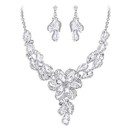 Kristall Prinzessin Kostüm - Clearine Damen Schmuckset kostüm Mode Kristall Pfirsich Blume Emaille Aussage Halskette baumeln Ohrringe Set Klar Silber-Ton