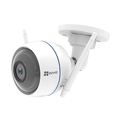 EZVIZ ezTube 1080P FHD Wifi 2.4Ghz WLAN-Kamera mit Nachtsicht, Kompatibel mit Amazon Alexa, Rundumleuchte und Sirene, Doppelte Externe WLAN-Antennen, 2-Wege-Audio, High-DB-Lautsprecher, Staubdicht, Wasserdicht, - Abdeckung Registrieren