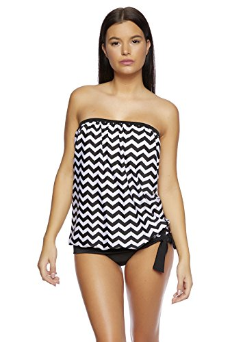Octopus Beachwear 1140OS-f5281 - Costume 2 pezzi da donna in stile tankini, con push-up per migliorare il portamento Tankini Black / White Pink Pattern J (1378)