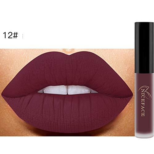 Bluestercool 26 Couleurs Rouge à Lèvres Liquide Mat Waterproof Hydratant Brillant Maquillage à Lèvres (9.8*1.5*1.5, 12#)