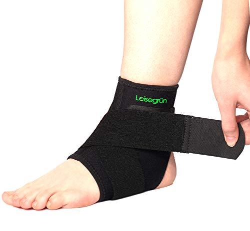 Leisegrün Sprunggelenkbandage mit Klettverschluss, stützt den Fuß beim Sport wie Handball, Fußball, Volleyball. Fußgelenkbandage für Damen, Herren und Kinder, rechts und Links tragbar, schwarz (S-M)