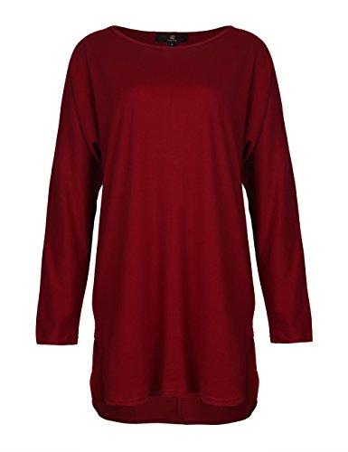 ISASSY - Chic Robe à Manches Longues Femme Chauve-souris Robe de Cocktail Noir / Vin Rouge / Rose Vin Rouge