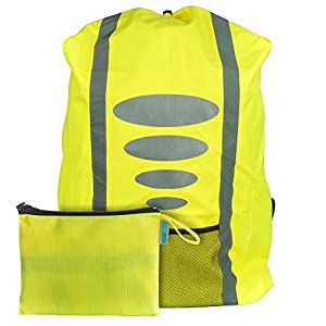 EAZY CASE Rucksack Schulranzen Regenschutz, Schutzhülle mit Reflektorstreifen, Regenüberzug I Regenschutzhülle wasserabweisend mit Reflektor und Tasche für mehr Sicherheit im Straßenverkehr