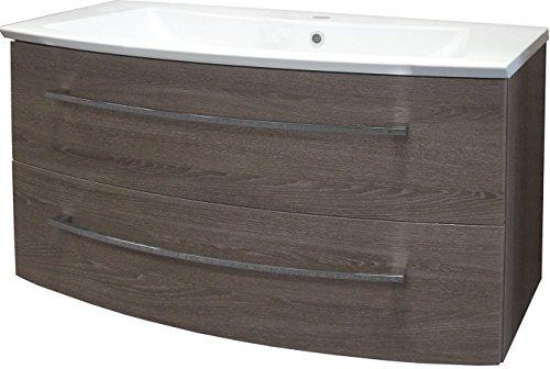 FACKELMANN Waschtischunterschrank Rondo/Badschrank mit Soft-Close-System/Maße (B x H x T): ca. 99 x 52 x 41,5 cm/hochwertiger Schrank/Möbel fürs Badezimmer/Korpus & Front: Eiche Cognac