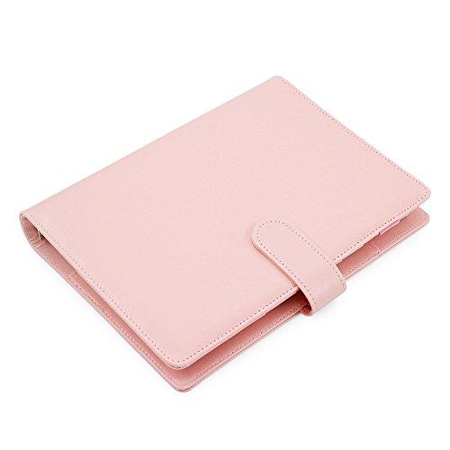 Laconile A 5 PU-Leder Spiral-Wirebound-Notizbuch, täglicher, wöchentlicher, monatlicher Kalender, Textbücher, Filofax Planer Organizer mit Pen Loop, Innentasche 17.5*23.5*3cm rose