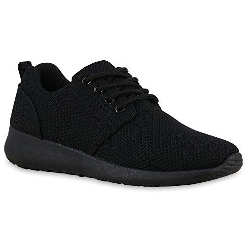 Damen Sport Übergrößen Trendfarben Runners Sneakers Lauf Fitness Prints Schuhe 132202 Schwarz All 44 Flandell