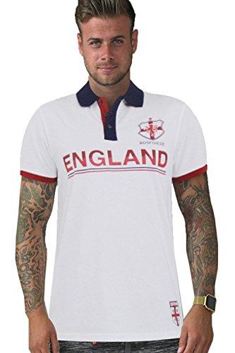 Erwachsene Polohemd England-flagge Vintage Retro St Georges Fußball Kreuz T-stück Top Foster - White