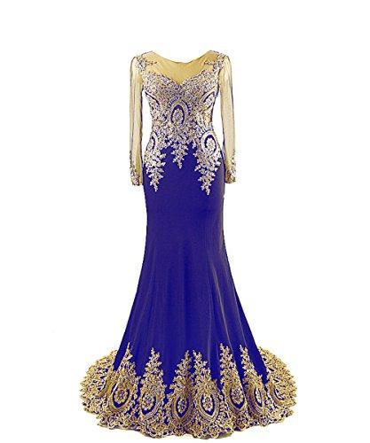 Fanciest Damen Gold Embroidery Lang Abendkleider mit ?rmeln Ballkleider Royal Blue