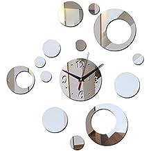 Lxlnxd Acrílico De Pared Reloj De Lujo Moderno Diseño Anillo De Réplica Relojes De Cristal 3D Salón