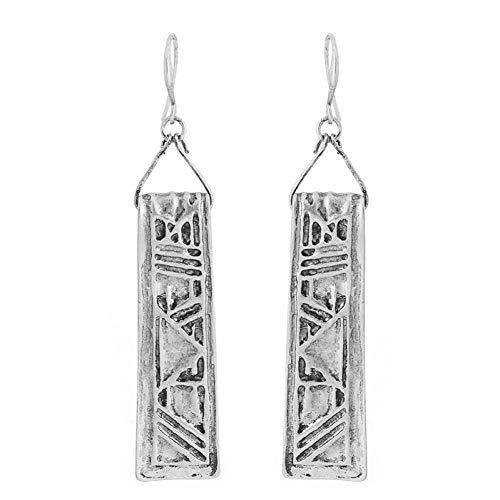 Blingbry boho - orecchini pendenti rettangolari con texture vintage per donne, gioielli antichi etnici, antichi tibetani, antichi in argento e argento