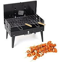 Vinteky® Barbacoas Grill Hornos de Carbón de Leña, Barbacoas de Parrillas para Picnic / Camping / Comida campestre, Parrilla de Carbón Portatil para BBQ al aire libre