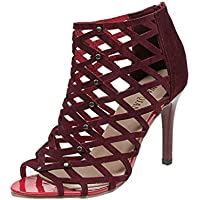 """Sandales montantes Squarex pour femmes, talons hauts, orteils ouverts  Adult 4.5 UK/ Foot Length:8.70""""-8.86"""" bordeaux"""
