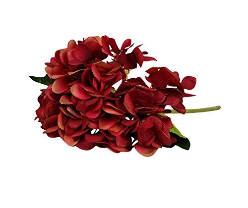 6 Piezas Hortensia Flores artificiales para ramo de novia y decoración de Boda Fiesta Navidad Hogar da rojo