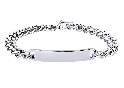 YJZQ Bracelet Chaîne Homme Bracelet Gourmette avec Plaque de Gravure Prénom De Famille Amoureux Amis Cool Bijou Cadeau Souvenir pour fête Saint-Valentin Anniverssaire