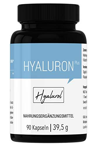 HYALUROL Hyaluronsäure Kapseln - hochdosiert, vegan, bio, rein - 90 Kapseln (3 Monate) hergestellt in Deutschland