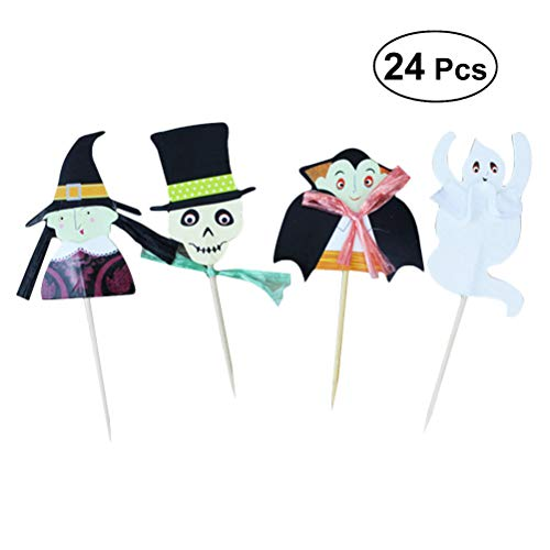 BESTONZON 24pcs Halloween Cupcake Toppers Postre Picks Cake Decorating Toothpick para Fiesta Horrible