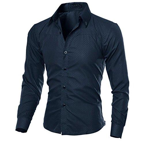 Kword maglietta di uomo eleganti,uomo business camicia casual maniche lunghe camicie slim fit top camicetta uomo felpe tumblr (marina, s)