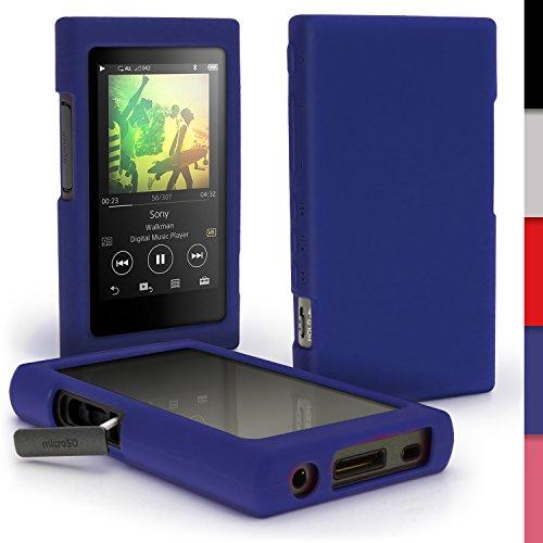 igadgitz Blau Silikon Tasche Hülle Case Cover für Sony Walkman NW-A35 NW-A40 MP3-Player + Schutzfolie