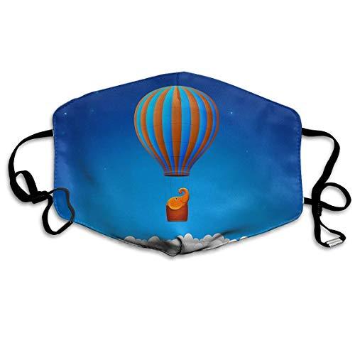 Vbnbvn Unisex Mundmaske,Wiederverwendbar Anti Staub Schutzhülle,Gesichtsmaske Hot Air Balloon Elephant Anti Pollution Washable Reusable Mouth Masks