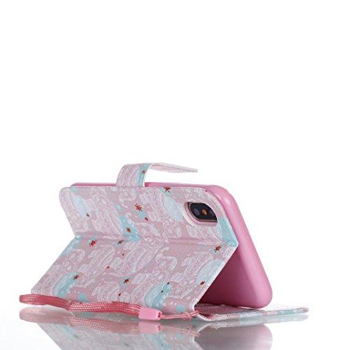 OuDu Coque iPhone X Housse Portefeuille Etui à Rabat en PU Cuir Coque Souple Ultra Mince Housse de Protection Etui Anti Choc Anti Rayure Leather Wallet Case Coque de Fonction de Supporter avec Fermetu Éléphant Rose