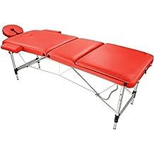 Camilla de masaje portátil Mesa de fisioterapia plegable Cama móvil de masaje AGILITY Alu 3 , Color:rojo vivo