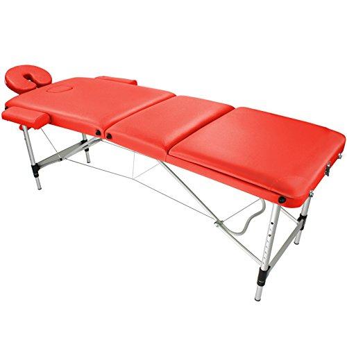 BB Sport Mobile Massageliege AGILITY Alu 3 Zonen leichte Massagebank höhenverstellbar klappbar belastabar bis 250 kg, Farbe:feuer rot