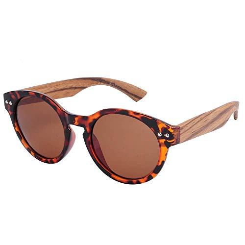 MXHSX Polarized UV400 Schutzgläser Handmade Bamboo Wood Sonnenbrille Circular Sonnenbrille Universal Sonnenbrille für Mann und Frau Vier Farben Optional Persönlichkeit Brille,Schildpatt + Tee + Zebra