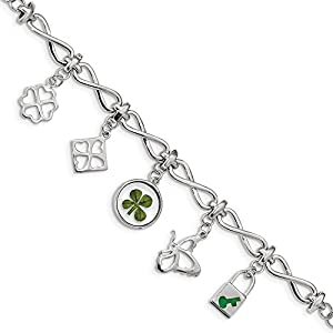 6,1 mm Sterling Silber plat. Vergoldet Clover Epoxy Emaille mit 1,5 Ext. Armband – 15 cm