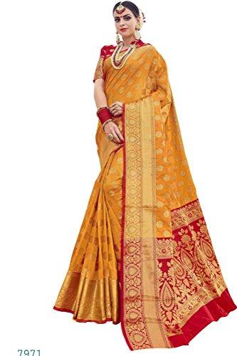 EthnicJunction Booti Work Zari Butta Designer Banarasi Silk Saree With Zari Thread...